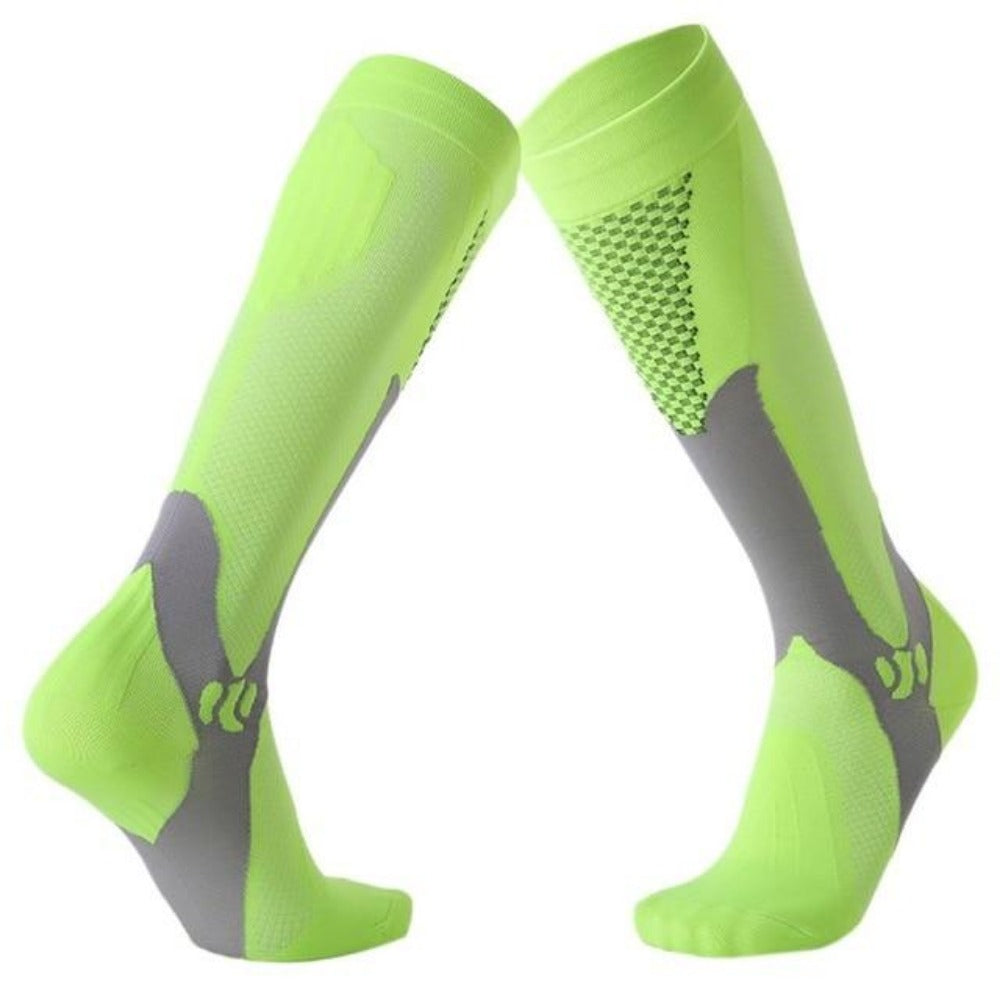 Men'S Knee High Leg Support Long Compression Socks-Men's Dress Socks-Green-S/M (42-44)-Product Details: Men's Knee High Leg Support Stretch Long Compression Socks Material: Polyester Cotton Optional Color: Blue, Black, Green, Rose Red, Orange, White Quantity: 1 Pair (2pcs)-Keyomi-Sook