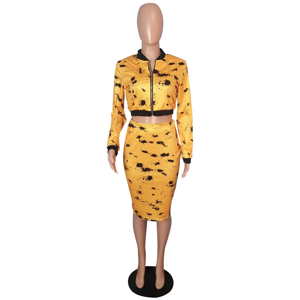 Women'S Black & Yellow Print Crop Top & Midi Skirt Set-Crop/Halter Tops & Bralettes-Product Details: Women's Black & Yellow Print Long Sleeve Front Zipper Crop Top & Midi Skirt Set Material: Polyester, Spandex, Cotton Size Chart:-Keyomi-Sook