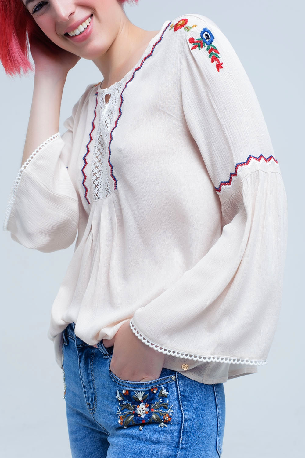 Beige Top With Embroidered Flowers And Lace-Women - Apparel - Shirts - Blouses-Product Details Loose beige top with embroidered flowers and detail of white lace with buttons. Long sleeves flared and crew neck. Very fine and flowing fabric.-Keyomi-Sook