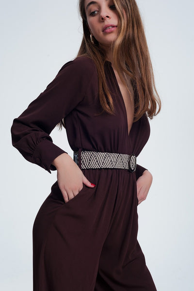 Maroon Jumpsuit With Striped Belt-Women - Apparel - Jumpsuits/Rompers-Large-Keyomi-Sook