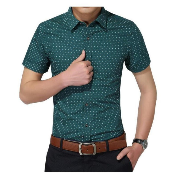 Men'S Polka Dot Short Sleeve Shirt M-5Xl-Men's Polos & Dress Shirts-GREEN-M-Product Details: Men's Polka Dot Plus Size Short Sleeve Casual Shirt Item Type: Shirts Shirts Type: Casual Shirts Material: Cotton Sleeve Length (cm): Short Collar: Turn-down Style: Casual Fabric Type: Broadcloth Sleeve Style: Regular Pattern Type: Polka Dot Closure Type: Single Breasted Size Chart:-Keyomi-Sook