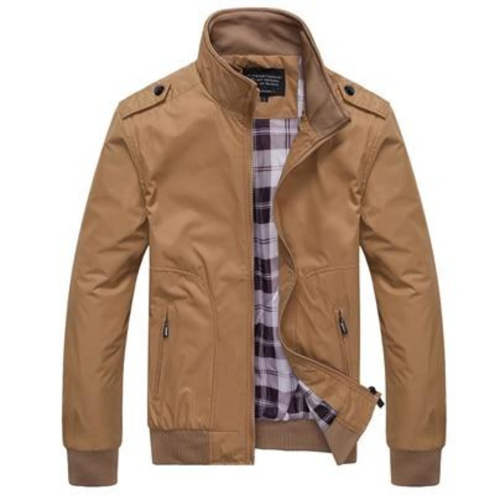 Men's Stand Collar Slim Jacket-Men's Jackets-Khaki-M-Product Details: Men's Stand Collar Slim Casual Bomber Jackets Collar: Stand Lining Material: Polyester Material: Polyester Cuff Style: Conventional Decoration: Pockets Closure Type: Zipper Size Chart:-Keyomi-Sook