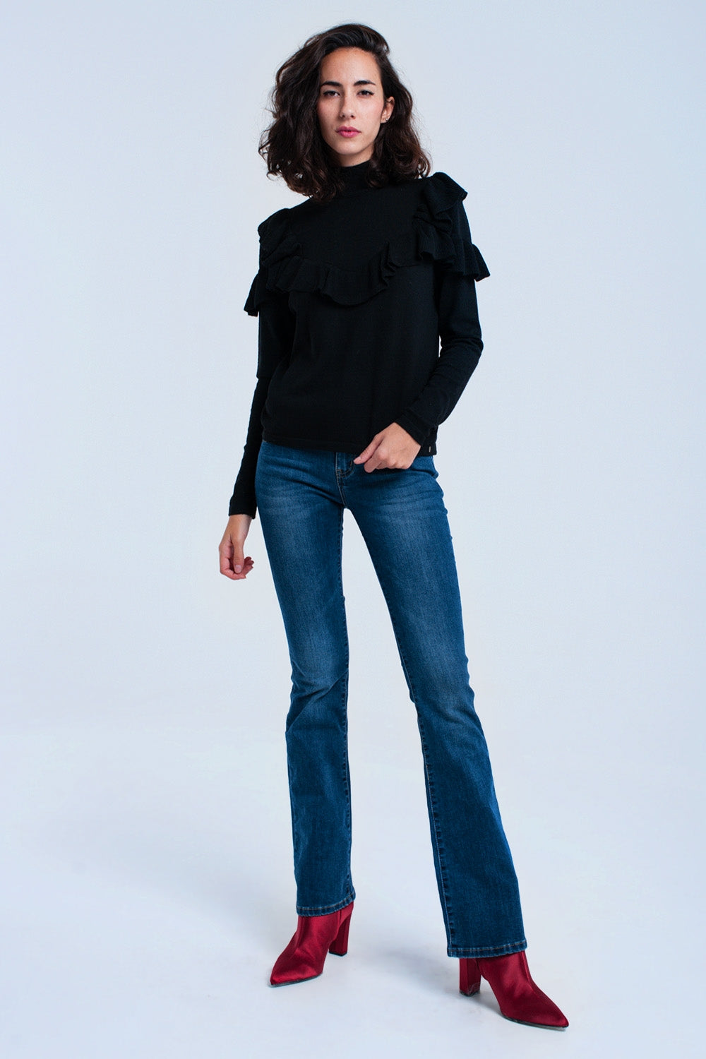 Black Sweater With Ruffle-Women - Apparel - Sweaters - Pull Over-Product Details Black sweater with a turtleneck, a round hem and long sleeves. Feature a ruffle detail in the front. The neckline and the ruffle are in ribbed woven fabric.-Keyomi-Sook