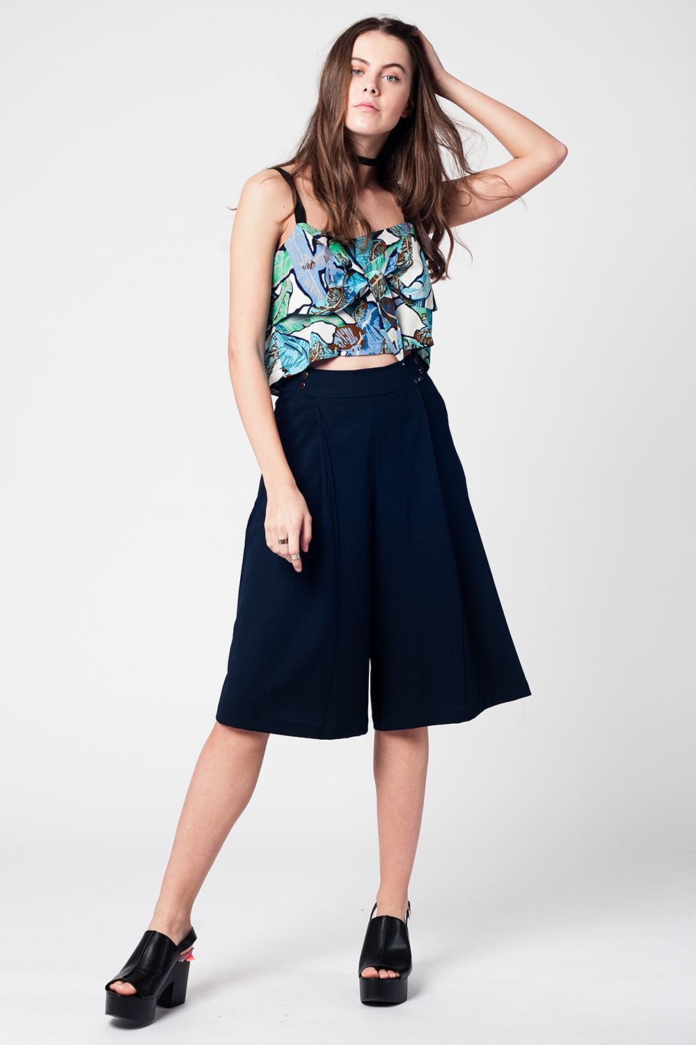 Blue Crop Top With Leaves Print-Women - Apparel - Shirts - Blouses-Product Details Short blue top with leaf print and black straps. Features knotted detail on both the back and the front.-Keyomi-Sook