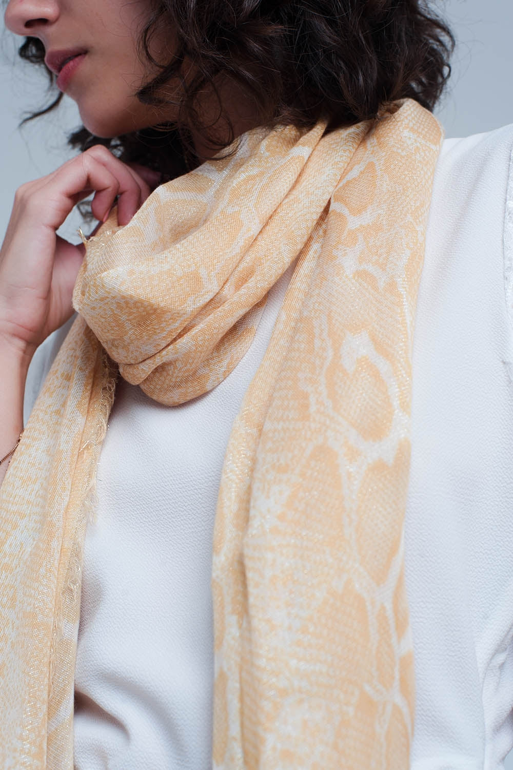 Yellow Scarf With Leopard Print-Women - Accessories - Scarves-Product Details Yellow scarf made from a soft viscose mix This scarf has a leopard print and glitter Made in Italy-Keyomi-Sook