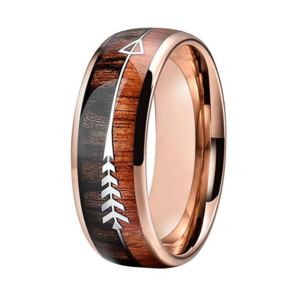 Arrow And Double Wood Inlay Ring-Men's Jewelry-5-Product Detail: Wedding Rings For Men And Women Rose Gold Tungsten Wedding Band With Arrow And Double Woods Inlay Fine or Fashion: Fashion Material: Metal Metals Type: Tungsten Shape Pattern: Round Color: Rose Gold Plated Shape: Domed Band Dimension: Surface Width: 8 mm-Keyomi-Sook