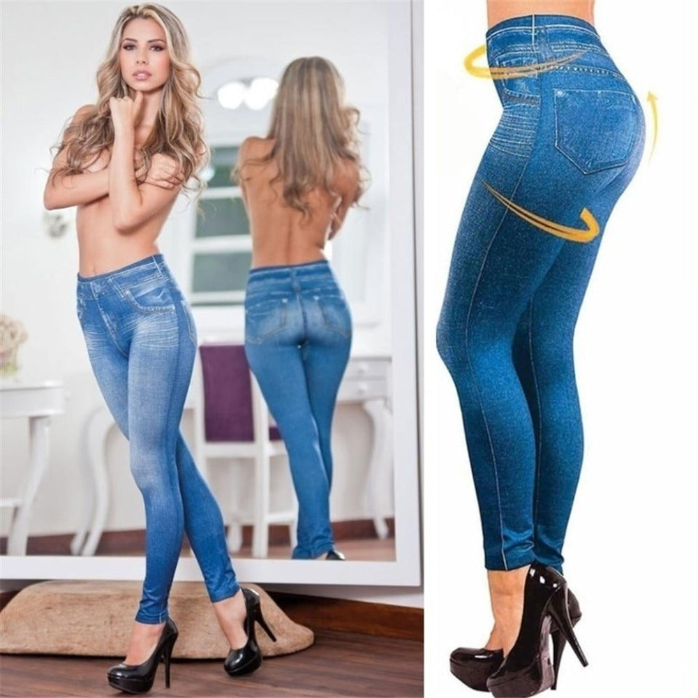 Women's Faux Denim Pocket Pencil Jeans-Ladies Jeans-Product Details: Women's Faux Denim Pocket Casual Pencil Plus Size Jeans Length: Ankle-Length Waist Type: Mid Item Type: Leggings Style: Casual Material: Polyester, Spandex Fabric Type: Broadcloth Size Chart:-Keyomi-Sook