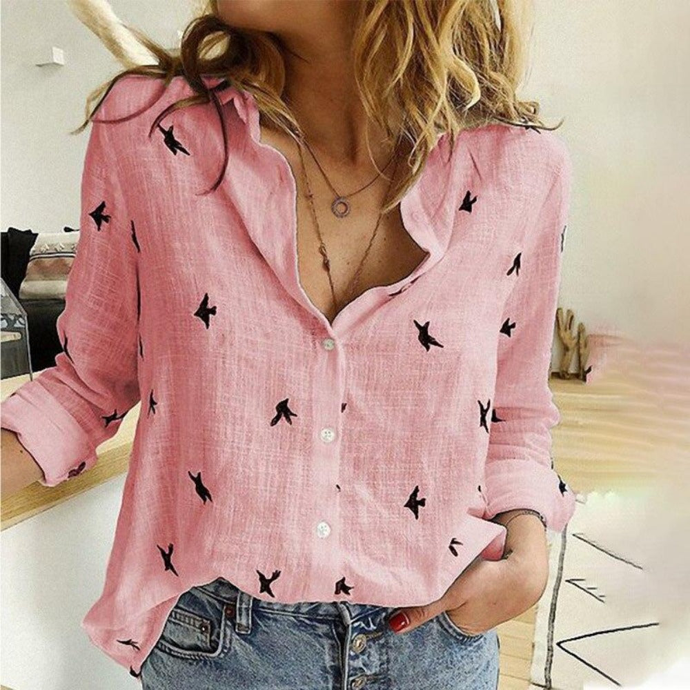 Women's Bird Print Long Sleeve Loose Shirt-Tops, Blouses, & Tees-Pink-S-Product Details: Women's Birds Print Long Sleeve Loose Plus Size Casual Shirt Material: Polyester-Keyomi-Sook