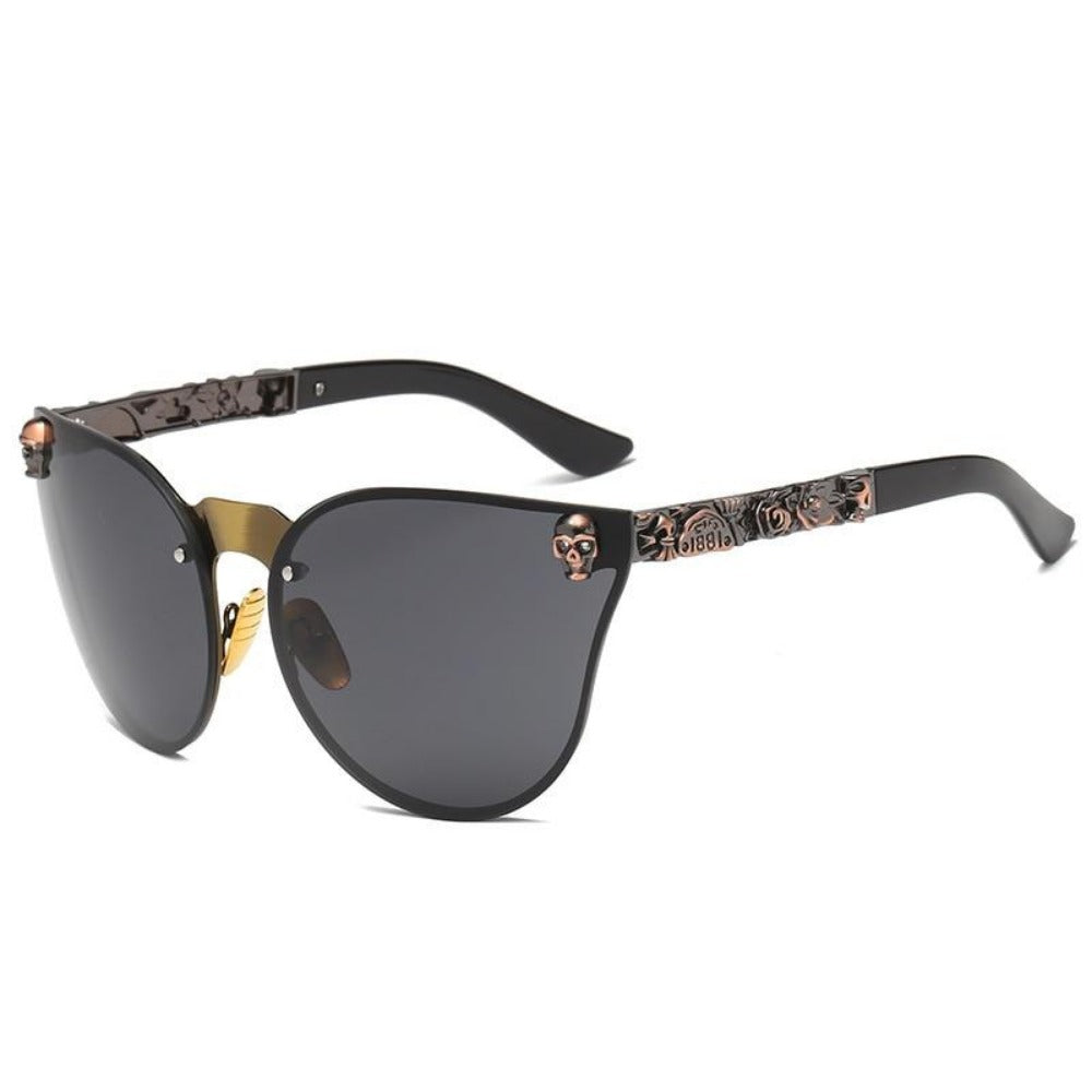 Women's Gothic Style Skull Frame Sunglasses-Ladies Sunglasses-C1-Brown-Black-Product Details: Women Gothic Sunglasses Skull Frame Metal Temple High Quality Sun glasses Protect Yours Eyes While Reflecting Your Style Lenses Optical Attribute: Mirror Style: Shield Frame Material: Alloy Lenses Material: Polycarbonate Dimensions: Lens Width: 58 mm Lens Height: 45 mm-Keyomi-Sook