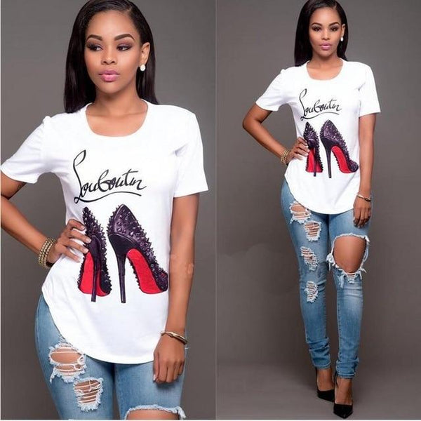 Fashion Red Bottom Printed T-Shirt-Ladies Tees-Product Detail: Fashion Printed T-shirt Collar: O-Neck Material: Acrylic, Spandex Fabric Type: Broadcloth Style: Casual Clothing Length: Regular-Keyomi-Sook