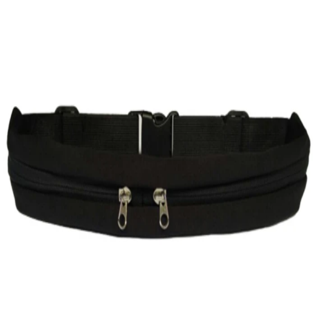 Men & Women's Running Waist Phone Holder Belt Bag-Athletic Wear-Black-Product Details: Men & Women's Outdoor Running Waist Mobile Phone Holder Belt Bag Material: Polyester Type: Double Pockets Package Content: 1 * Waist Pack-Keyomi-Sook