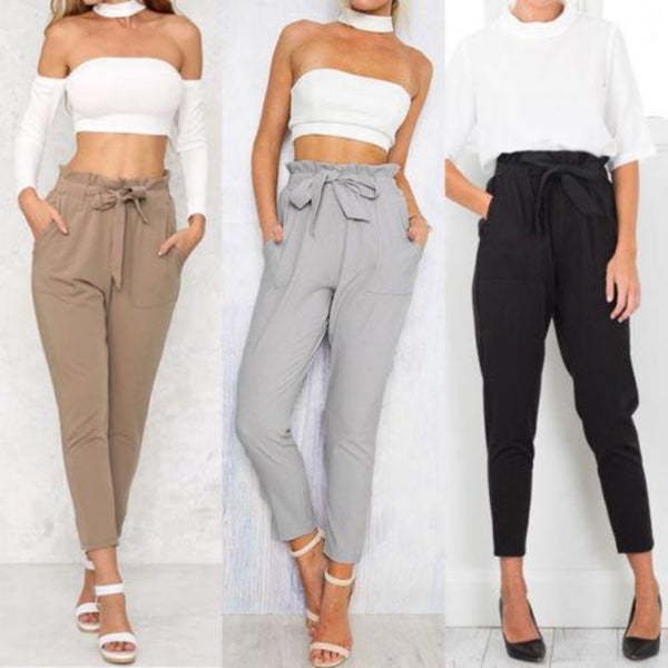 Women'S Chiffon High Waist Elastic Ankle-Length Pants-Women - Apparel - Pants - Trousers-Product Details: Women's Chiffon High Waist Elastic Ankle-Length Capris Pencil Pants Material: Polyester Color: Black, Light Blue, Light Tan Style: Fashion, Casual Size Chart:-Keyomi-Sook
