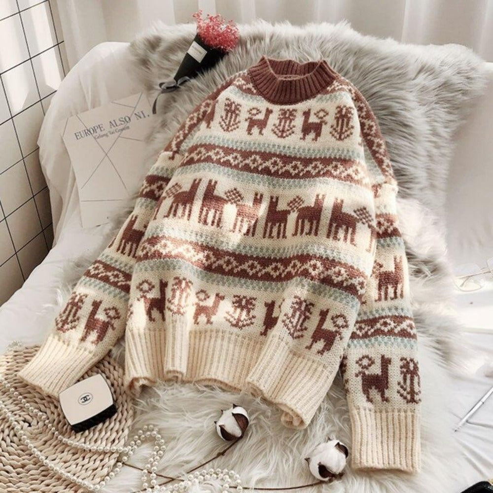 Women's O-Neck Wild Loose Christmas Sweater-Sweaters & Sweatshirts-Beige-One Size-Product Details: Women's O-neck Full Warm Wild Pullover Loose Christmas Sweater Dimensions: Shoulder: 58 cm Bust: 107 cm Length: 53 cm Sleeve: 41 cm-Keyomi-Sook
