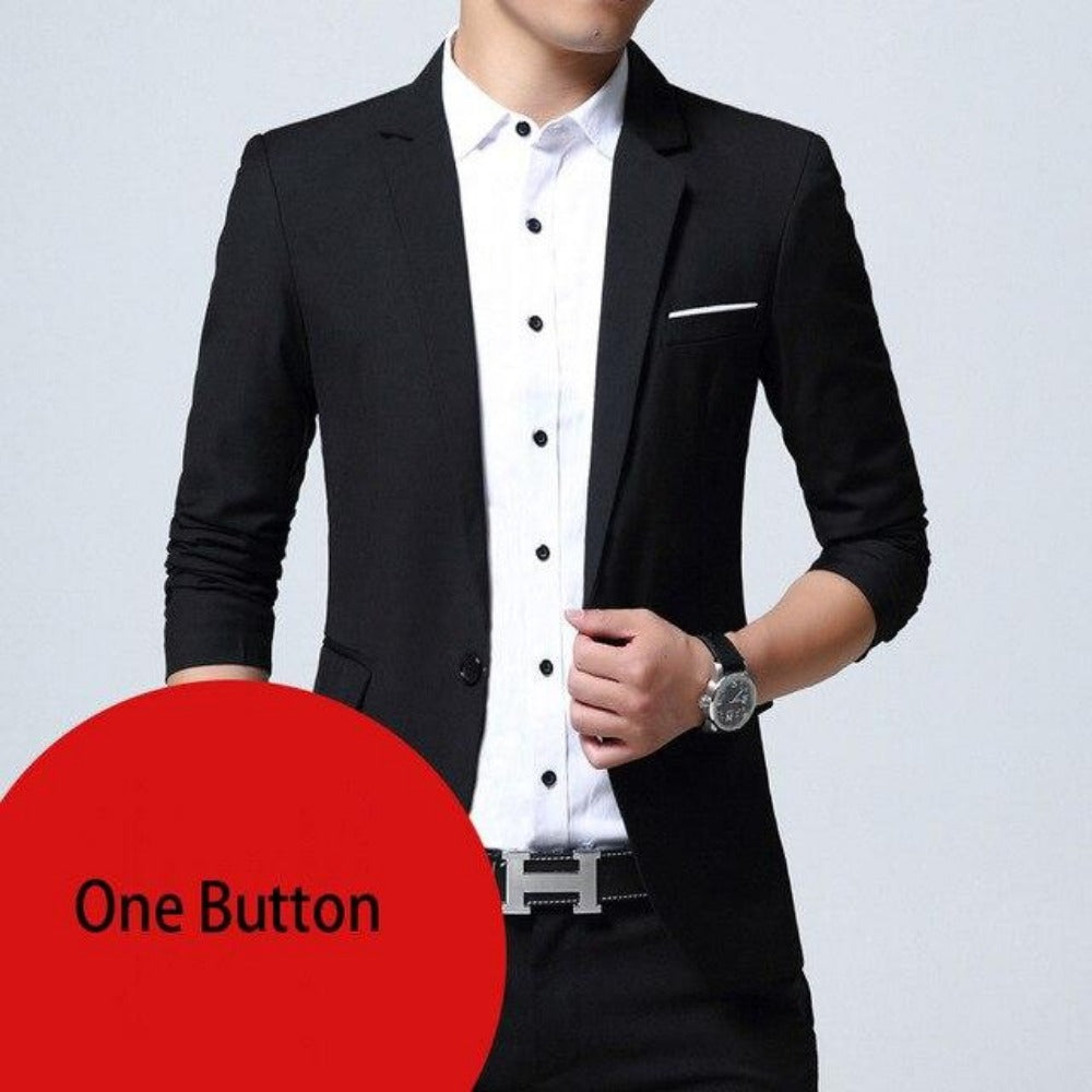 Breasted Two Button Blazer Jacket-Men's Jackets, Coats & Sweaters-black one button-M-Product Details: Mens Slim Fit Elegant Blazer Jacket Brand Single Breasted Two Button Party Formal Business Dress Suit Size Chart:-Keyomi-Sook
