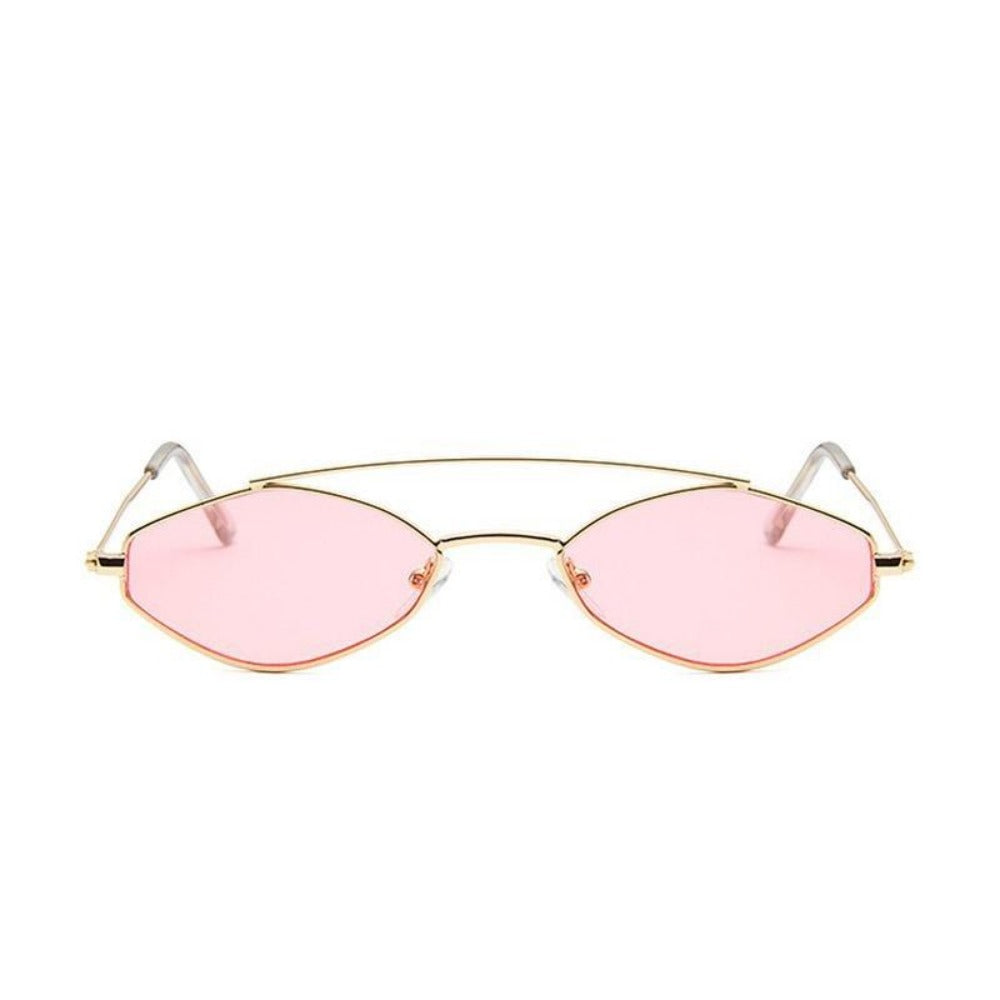 Women's Nose Resting Cat Eye Sunglasses-Ladies Sunglasses-D879 gold pink-Product Details: Women's Nose Resting Cat Eye Retro Small Double Beam Sunglasses Lenses Optical Attribute: Gradient, UV400 Lenses Material: Resin Style: Cat Eye Frame Material: Alloy Dimensions:-Keyomi-Sook