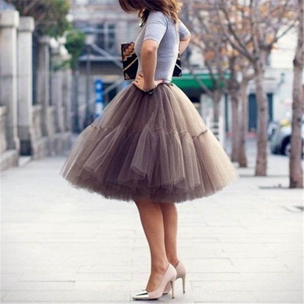 5 Layers Petticoat TuTu Skirt-Skirts-Product Detail: Petticoat 5 Layers 60 cm Tutu Tulle Skirt Vintage Midi Pleated Skirts Womens Occasions Bridesmaid Wedding Silhouette: Ball Gown Material: Swiss / Hard Tulle, Satin / Cotton Lining Dimension: Dresses Length: Knee-Length-Keyomi-Sook