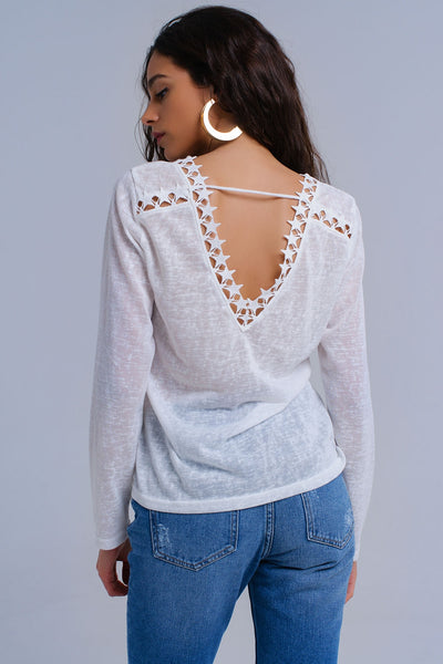 White Shirt With Stars-Women - Apparel - Shirts - Blouses-Product Details White shirt with a V-neck, a round hem and long sleeves. It has also has a V-form in the back with crochet stars on the edge.-Keyomi-Sook