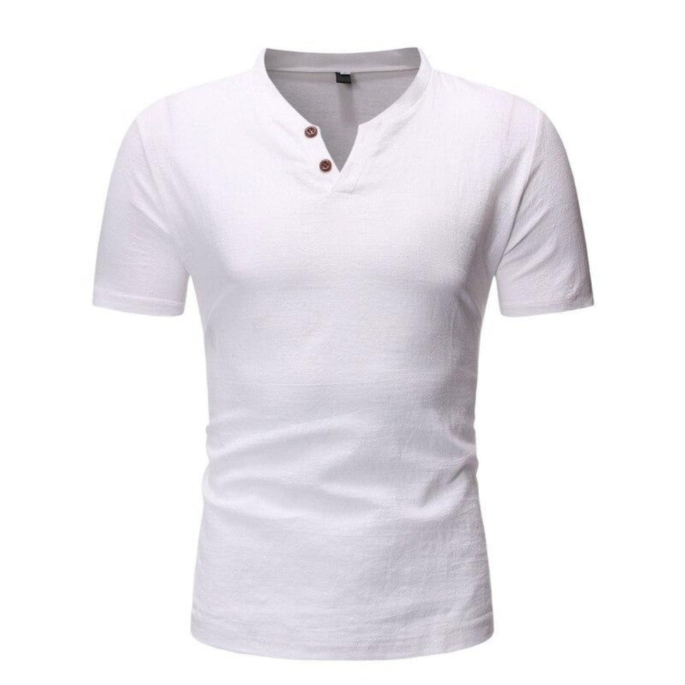 Men's Short Sleeve 2 Button Collarless Henley Shirt-Men's Shirt-white-M-Product Details: Men's Button Down Short Sleeve Slim Fit Henley Casual Dress Shirt Item Type: Shirts Shirts Type: Casual Shirts Material: Linen, Spandex Sleeve Length (cm): Short Collar: Mandarin Style :Casual Fabric Type: Broadcloth Sleeve Style: Regular Pattern Type: Solid Closure Type: Single Breasted Size Chart:-Keyomi-Sook