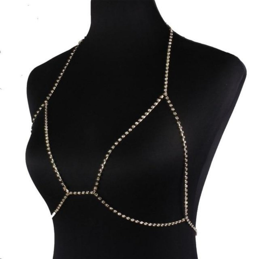 Women'S Crystal Chain Rhinestone Body Bra Harness-gold-Product Details: Women's Crystal Chain Rhinestone Sparkle Body Bra Harness-Keyomi-Sook