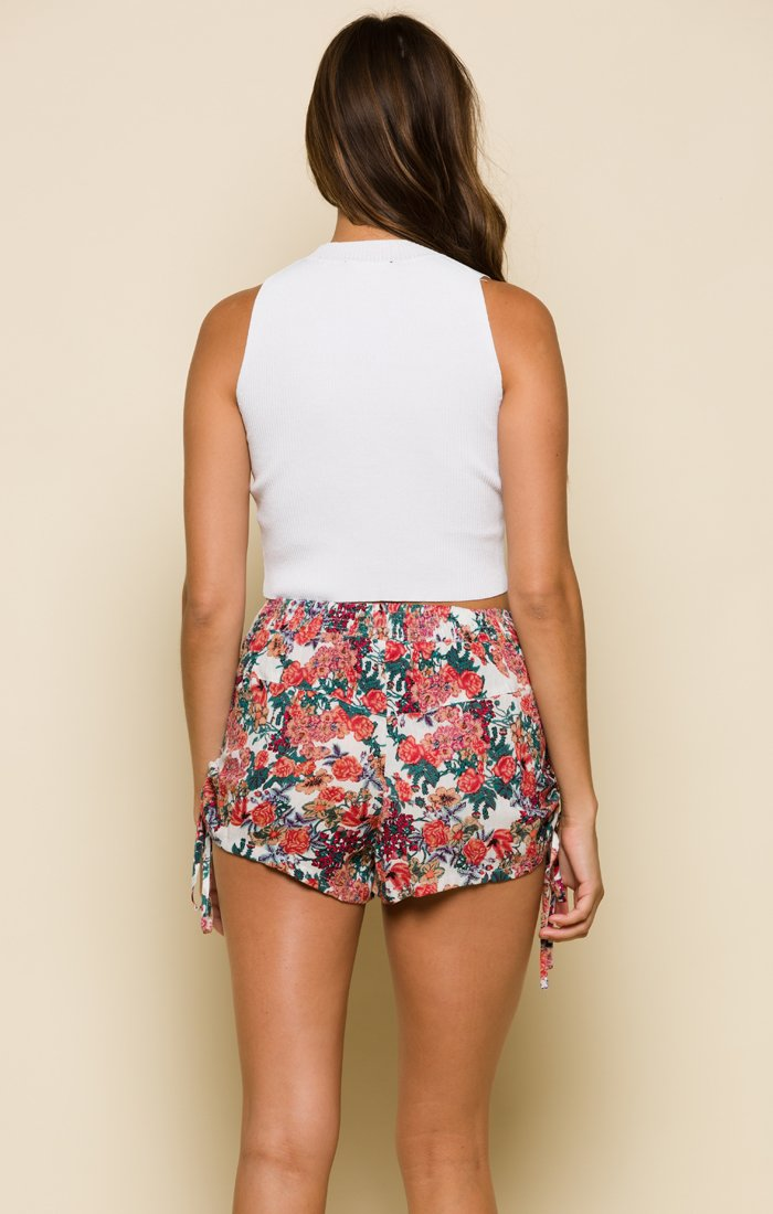 Garden Delight Drawstring Shorts-Women - Apparel - Shorts - Casual-Product Details 100% Viscose Drawstring Shorts With Tie-Side Detail Model Is Wearing Size Small Hand Wash Cold, Lay Flat To Dry Easy Measure Conversion XS/0 S/1 M/2 L/3 US 0/2 2/4 6/8 8/10 AUS 4/6 6/8 10/12 12/14 BRAZIL 34/36 36/38 40/42 42/44 CHINA 76a/80a 80a/84a 88a/92a 92a/95a EUP 32/34 34/36 38/40 40/42 JAP 5/7 7/9 11/13 13/15 RUS 42 42/44 46/48 50/52 UK 4/6 6/8 10/12 12/14 Detailed View Size Chart-Keyomi-Sook