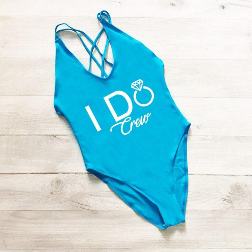 Women's I Do Crew Print Swimsuit-Ladies Swimwear-232 BUWT-S-Product Details: Women's I Do Crew Print One Piece Swimsuit Color: Black, White, Blue, Red, Yellow, Pink, Purple Waist: High Pattern: Letter Material: Spandex, Nylon Size Chart:-Keyomi-Sook