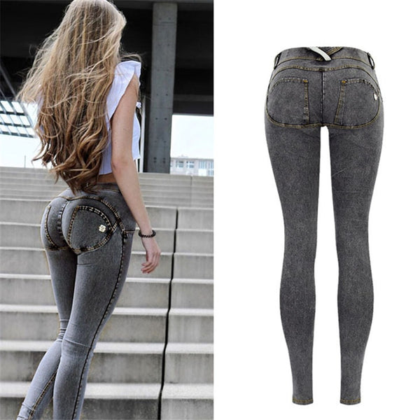 Ladies Low Waist Push Up Denim Print-Ladies Jeans-Black-34-Keyomi-Sook