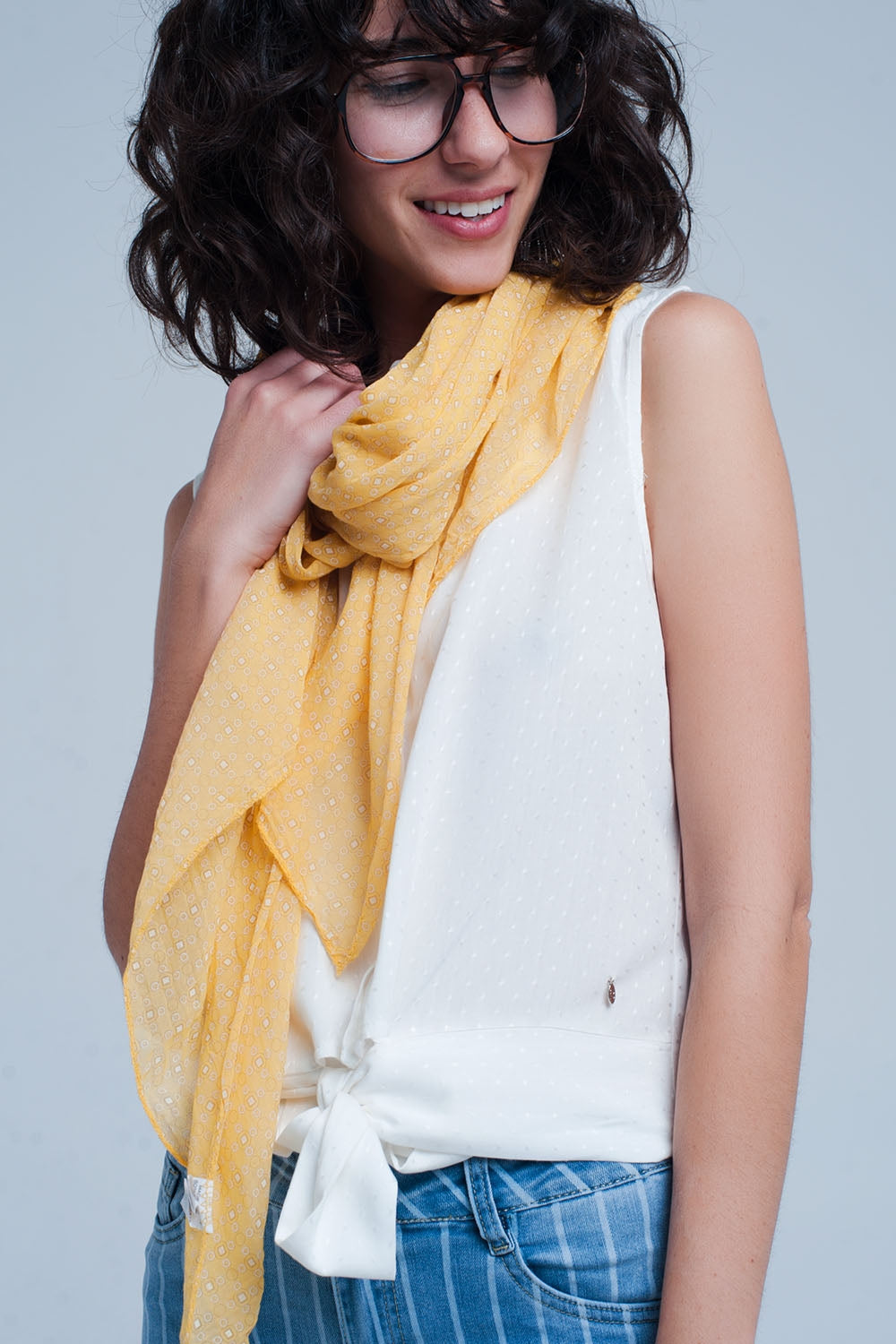 Mustard Scarf With Figures Print-Women - Accessories - Scarves-Product Details Mustard coloured scarf made from cotton and silk This scarf has a circle and square print on it Made in Italy-Keyomi-Sook