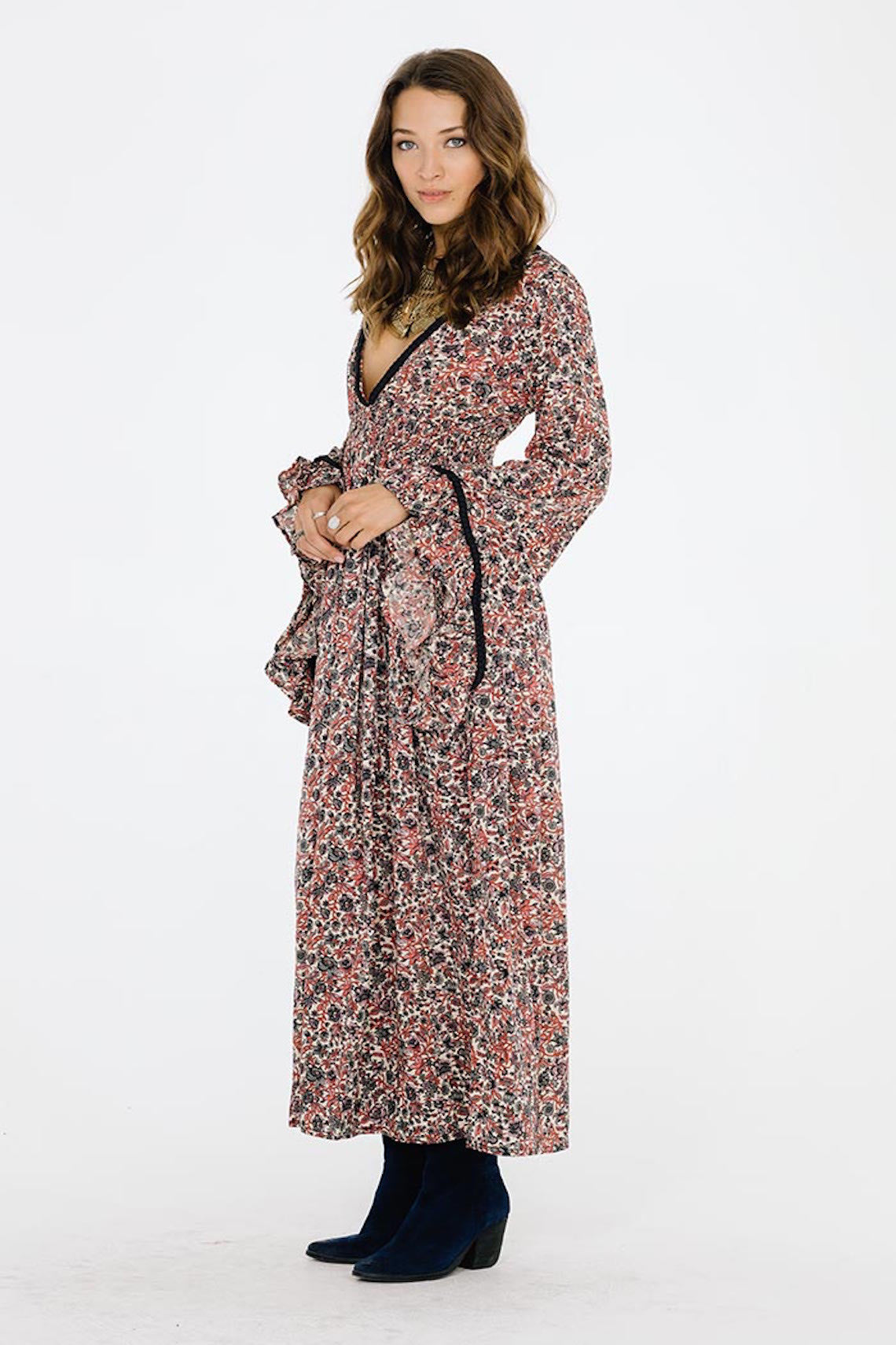Granada Maxi Dress-Women's Fashion - Women's Clothing - Dress-Product Details This piece is 100% Polyester Cinched waistline, plunging neckline Bell sleeves with drape trim; Unlined Model is wearing a size Small Hand wash cold, lay flat to dry Easy Measure Conversion XS/0 S/1 M/2 L/3 US 0/2 2/4 6/8 8/10 AUS 4/6 6/8 10/12 12/14 BRAZIL 34/36 36/38 40/42 42/44 CHINA 76a/80a 80a/84a 88a/92a 92a/95a EUP 32/34 34/36 38/40 40/42 JAP 5/7 7/9 11/13 13/15 RUS 42 42/44 46/48 50/52 UK 4/6 6/8 10/12 12/14 De