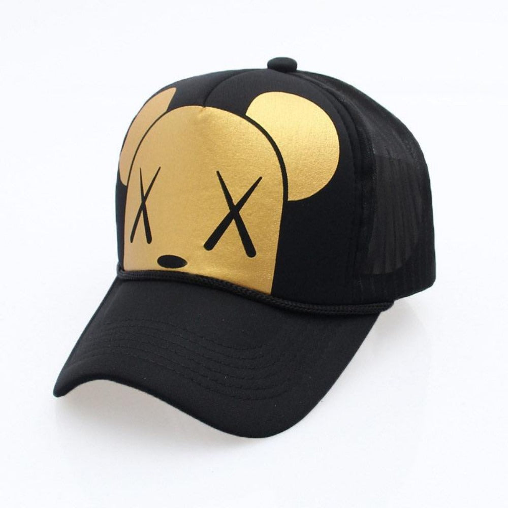 Men's Cartoon Dead Eyes Adjustable Baseball Cap-Men's Hats-B-X Eye Gold-Product Details: Men's Dead Eyes Character Adjustable Strap Mesh Back Panel Urban Baseball Snapback Material: Polyester Hat Size: One Size Head Circumference: 58 - 60 cm, Adjustable Size-Keyomi-Sook