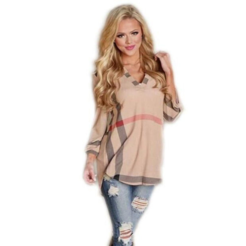 Women's 2/3 Sleeve Plaid Shirts-Tops, Blouses, & Tees-Pink-S-Product Details: Women's V-Neck 2/3 Sleeve Casual Plaid Shirts Material: Cotton, Acrylic Size Chart:-Keyomi-Sook
