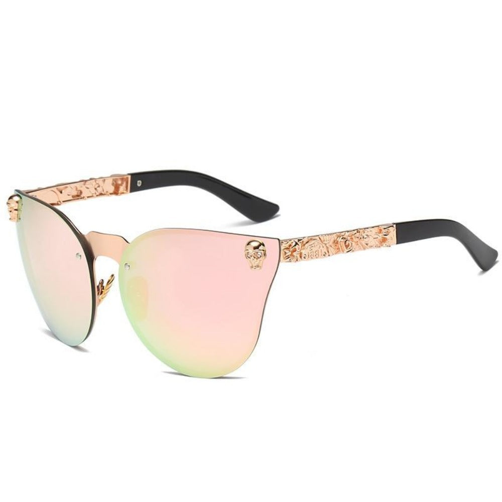 Women's Gothic Style Skull Frame Sunglasses-Ladies Sunglasses-C7-Gold-Pink-Product Details: Women Gothic Sunglasses Skull Frame Metal Temple High Quality Sun glasses Protect Yours Eyes While Reflecting Your Style Lenses Optical Attribute: Mirror Style: Shield Frame Material: Alloy Lenses Material: Polycarbonate Dimensions: Lens Width: 58 mm Lens Height: 45 mm-Keyomi-Sook