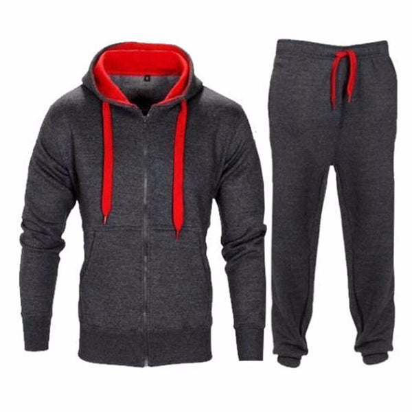 Men's Hooded Zipper Tracksuit Set-Men's Athletic Wear-EL025 Dark Grey-Red-XXXL-Product Details: Men's Hooded Zipper Casual Solid Tracksuit Set Material: Polyester Decoration: Button, Pockets Collar: O-Neck-Keyomi-Sook