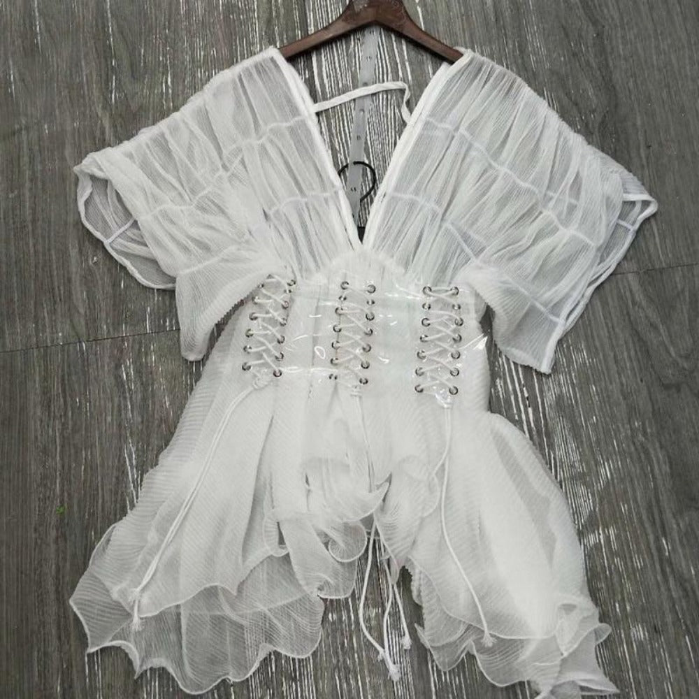 Women's Chiffon Loose Blouse With Sash-Tops, Blouses, & Tees-Product Details: Women's White V-neck Chiffon Loose Blouse Top with Sash Material: Polyester Clothing Length: Regular Style: Casual Fabric Type: Broadcloth Sleeve Length (cm): Half Decoration: Sashes Pattern Type: Solid Collar: V-Neck Size: Waist: 70-100 Length: 56-Keyomi-Sook