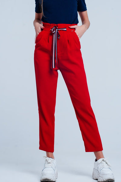 Paper Bag Waist Tie Front Pants In Red Colour-Women - Apparel - Pants - Trousers-L-Keyomi-Sook