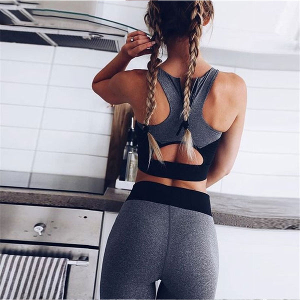 2 Piece Grey & Black Sportswear Ladies Gym Set-Athletic Wear-Product Details: Casual Sporting Tracksuit Women 2 Piece Set Fitness Clothes Workout Sportswear For Female Material: Polyester, Spandex Collar: O-Neck Dresses Length: Ankle-Length Size Chart:-Keyomi-Sook