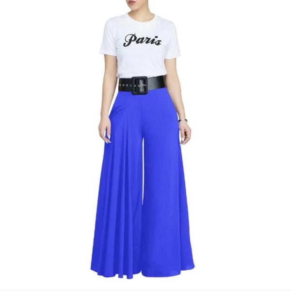 Women'S Loose Stretch High Waist Wide Leg Pants-Women - Apparel - Pants - Wide Leg-Blue-L-Product Details: Women's Plus Size Loose Stretch High Waist Wide Leg Long Pants Size Chart:-Keyomi-Sook