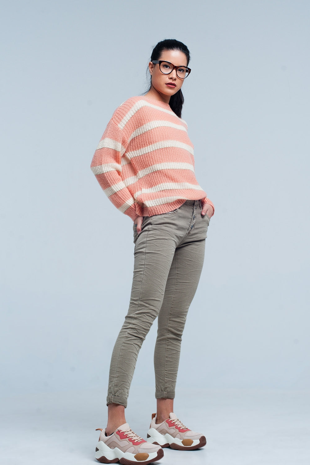 Pink Striped Mohair Sweater With Lurex-Women - Apparel - Sweaters - Pull Over-Product Details Pink and white striped ribbed knit pullover. The sweater has a round neck and long sleeves. Very comfortable mix of warm fabrics to make you survive upcoming winter season.-Keyomi-Sook