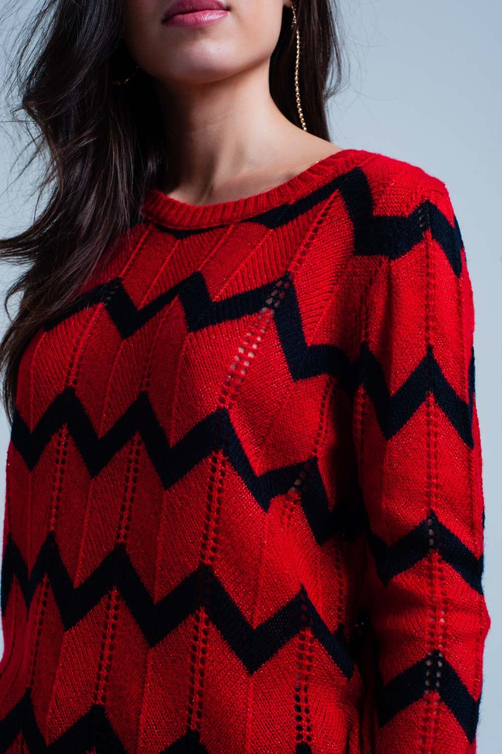 Red Glitter Sweater In Black Zigzag Pattern-Women - Apparel - Sweaters - Pull Over-Product Details Red chunky knitted pullover of very airy glitter fabrics with a black zigzag pattern. The jumper has a round neck and long sleeves with a relaxed fitting.-Keyomi-Sook