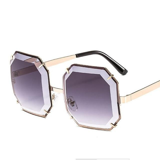 Women's Polygonal Cut Resin Lens Sunglasses-Ladies Sunglasses-D897 gradient grey-Product Detail: Women Luxury Brand Designer Polygonal Cut Resin Lens Fashion Square Sunglasses Lenses Material:Resin Frame Material: Alloy Style: Square Dimension: Lens Width: 59 mmLens Height: 59 mm-Keyomi-Sook