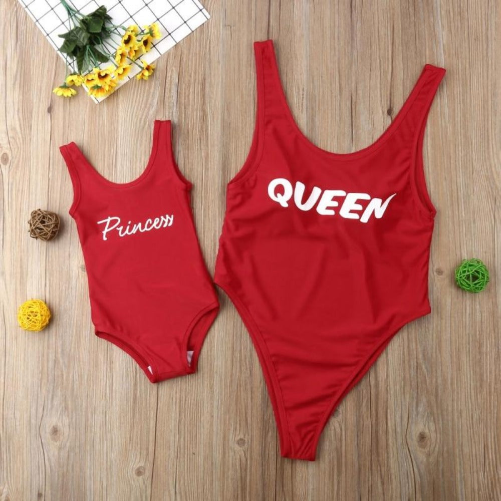 Women's Red Queen And Princcess Print Matching Swimsuit-Ladies Swimwear-Product Details: Red Queen and Princess Print Family Matching Bandage Summer Swimsuit Pattern Type: Letter Material: Polyester Item Type: Sets Sleeve Length (cm): Sleeveless Style: Fashion Material: Polyester Package included: 1 x Swimwear Size Chart:-Keyomi-Sook