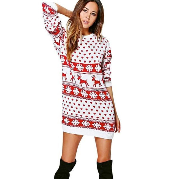Women's Christmas Sweater Dress-Holidays-A-S-Product Detail: Women's Long Sleeve Christmas Pullover Sweater Dress-Keyomi-Sook