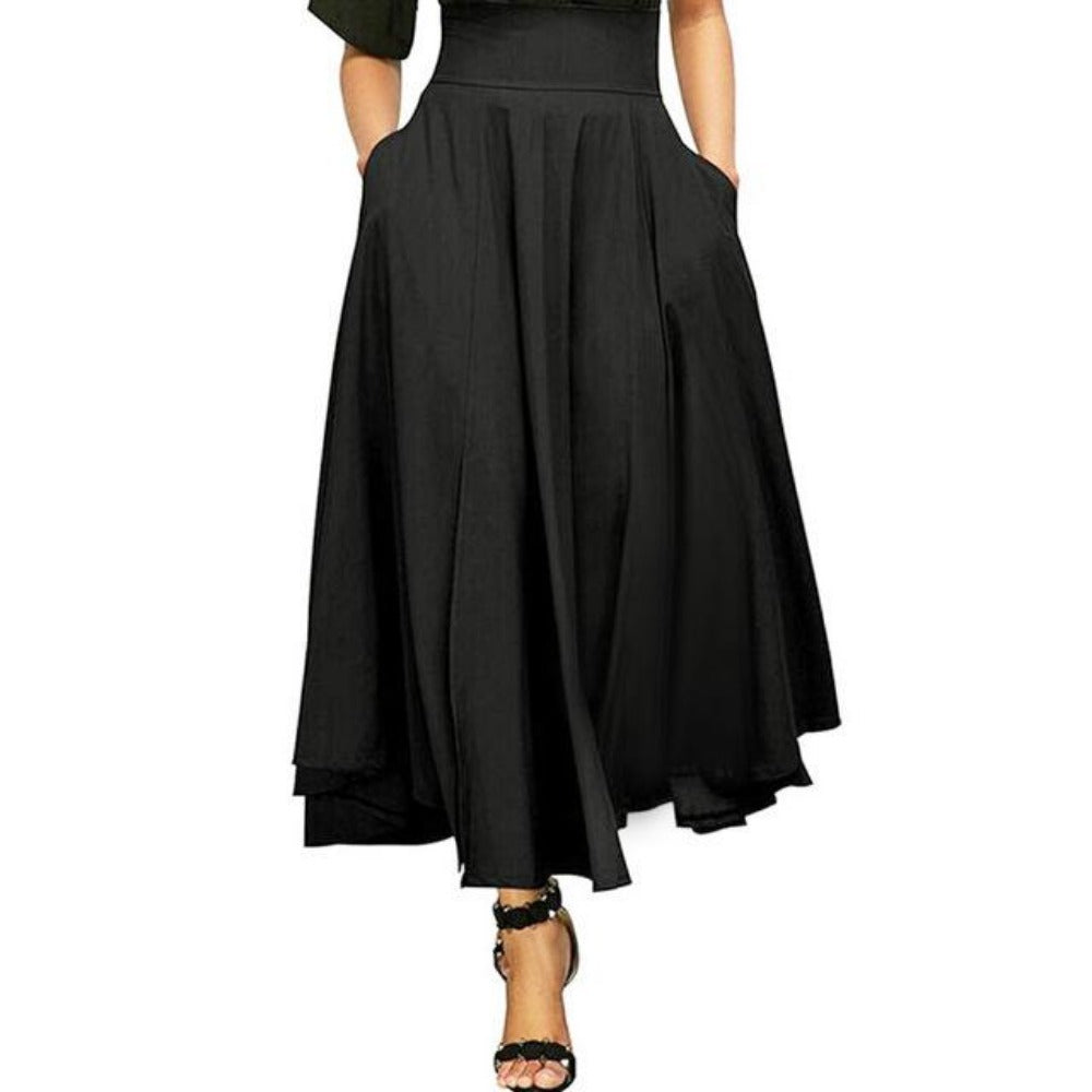 Women'S Retro High Waist Pleated Belted Maxi Skirt-Skirts-Black-S-Product Details: Women's Retro High Waist Pleated Belted Plus Size Maxi Skirt Material: Polyester Style: Casual Pattern Type: Solid Silhouette: Pleated Dresses Length: Ankle-Length Waistline: Empire Size Chart:-Keyomi-Sook
