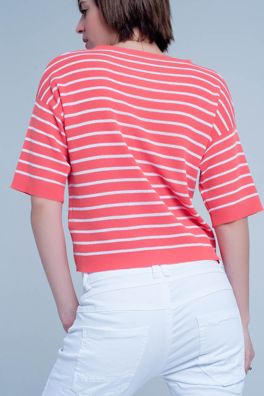 Coral Striped Short Sleeve V-Neck Sweater-Women - Apparel - Sweaters - Pull Over-Product Details Airy v-neck jumper of high quality viscose with a little stretch. The pullover has slightly oversized shoulders and sleeves on 1/3 length.-Keyomi-Sook