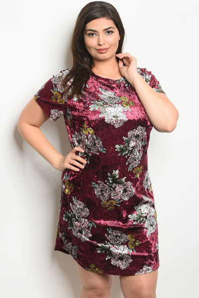 "Burgundy Velvet Floral Plus Size Dress-Women - Apparel - Dresses - Day to Night-Product Details Plus size short sleeve round neck velvet floral shirt dress. Country: USAFabric Content: 97% POLYESTER 3% SPANDEXSize Scale: 1XL-2XL-3XLDescription: L: 37"" B: 44"" W: 42""-Keyomi-Sook"