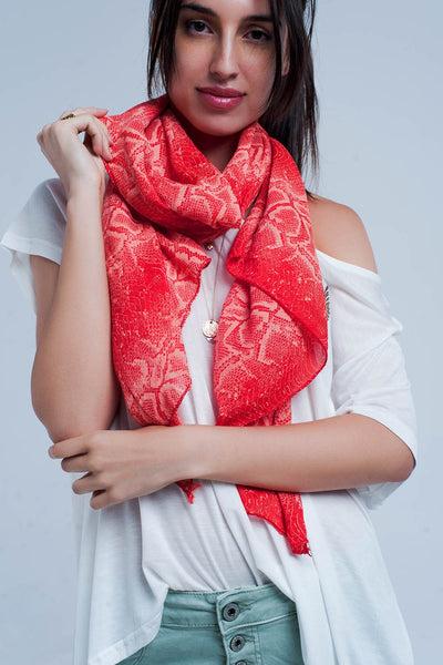 Red Scarf With Snake Print-Women - Accessories - Scarves-Product Details Red scarf with snake print made from comfortable cotton Made in Italy-Keyomi-Sook