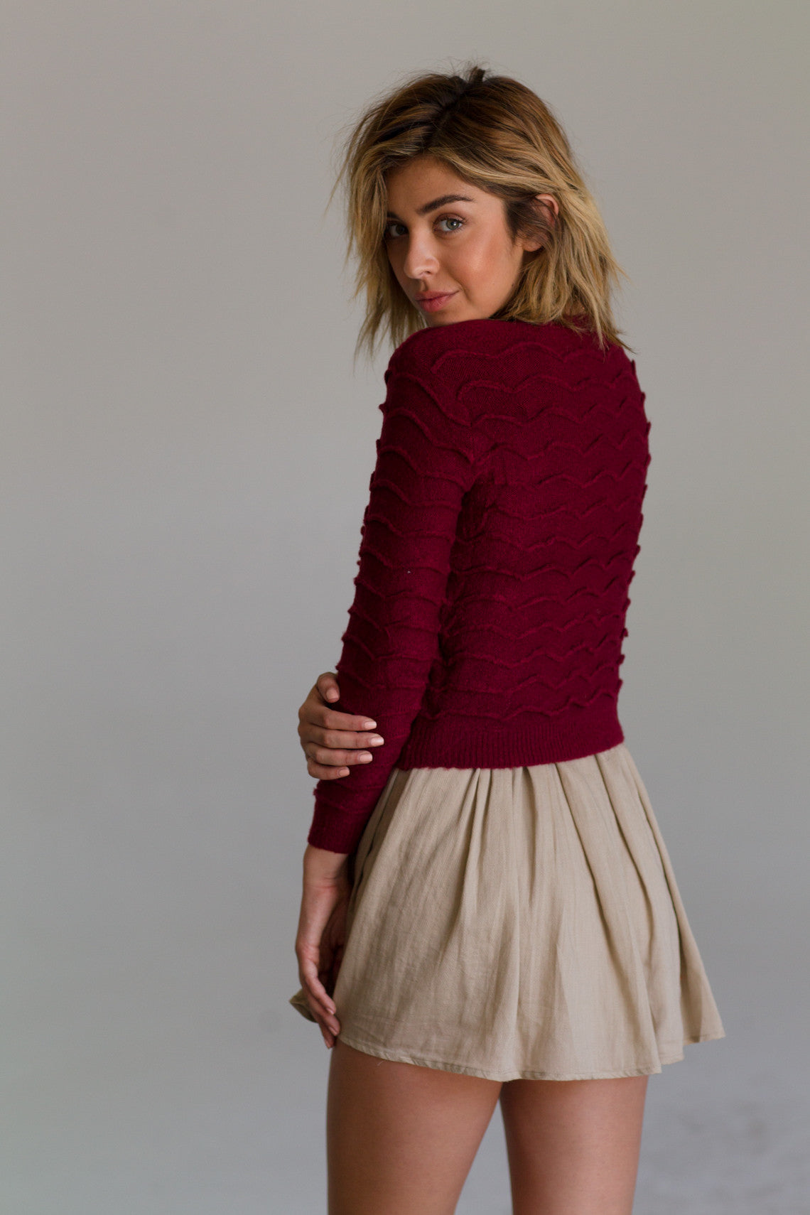 Undercurrent Sweater-Women - Apparel - Sweaters - Pull Over-Product Details Poly Blend Long sleeve color textured pullover sweater *Runs Small* Model is wearing a size Small Hand wash cold, lay flat to dry Easy Measure Conversion XS/0 S/1 M/2 L/3 US 0/2 2/4 6/8 8/10 AUS 4/6 6/8 10/12 12/14 BRAZIL 34/36 36/38 40/42 42/44 CHINA 76a/80a 80a/84a 88a/92a 92a/95a EUP 32/34 34/36 38/40 40/42 JAP 5/7 7/9 11/13 13/15 RUS 42 42/44 46/48 50/52 UK 4/6 6/8 10/12 12/14 Detailed View Size Chart-Keyomi-Sook