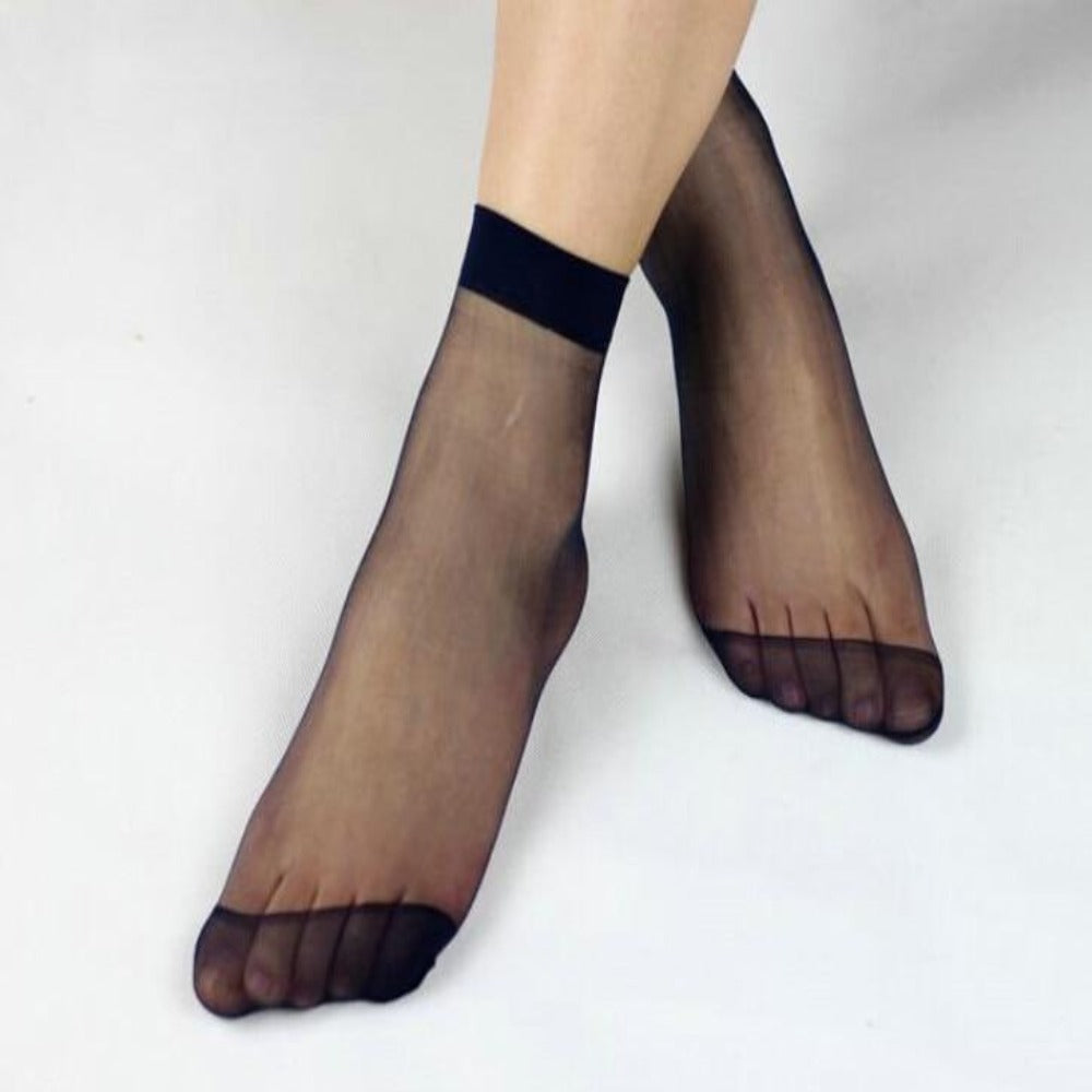 Women's Multi-Color Crystal Transparent Socks-Ladies Socks-Black-10 pairs-Product Details: Women's 10 Pairs Multi-color Crystal Transparent Ankle High Socks Item Type: Sock Material: Nylon Thickness: Thin Item Length: Regular Sock Type: Casual Pattern Type: Solid Package Include: 10 Pairs Socks Size: One size-Keyomi-Sook