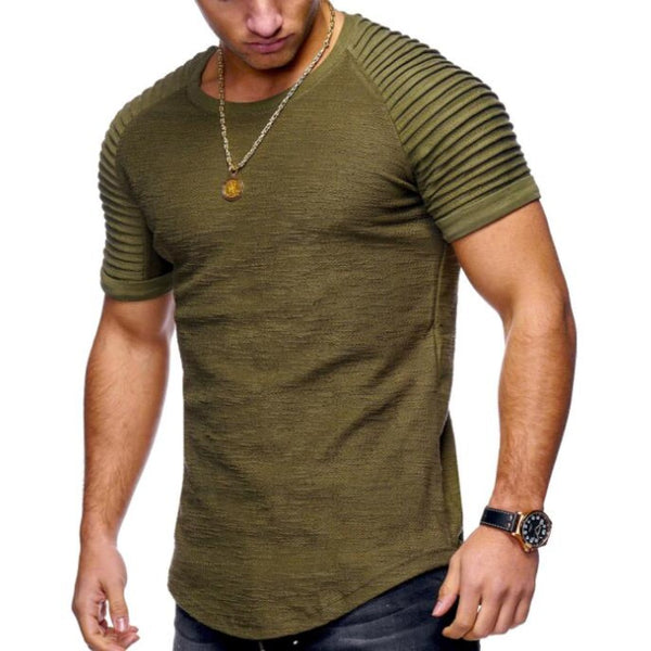 Men's O-neck Khaki T-shirts-Men's Casual-7-Olive-M-Product Details: Men's O-neck Khaki Casual T-shirts Pattern Type: Print Decoration: Appliques Collar: O-Neck Material: Cotton Size Chart:-Keyomi-Sook