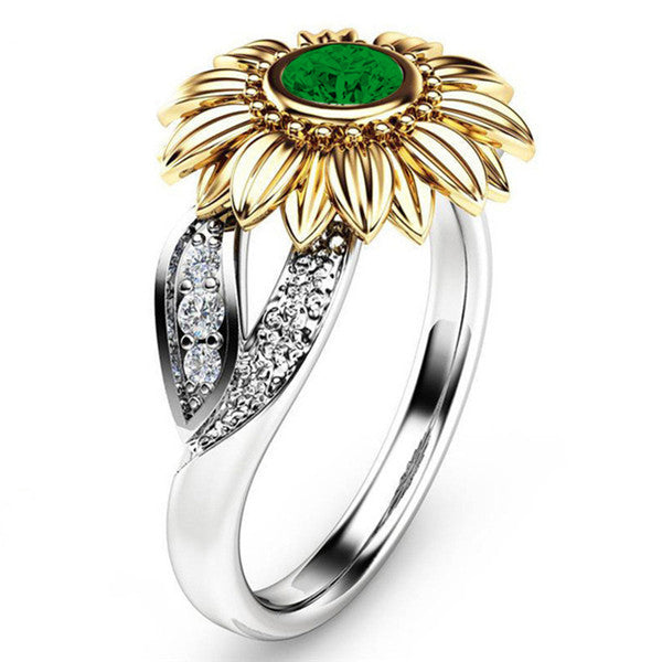 Gold Sunflower Crystal Ring-Ladies Rings-5-Keyomi-Sook