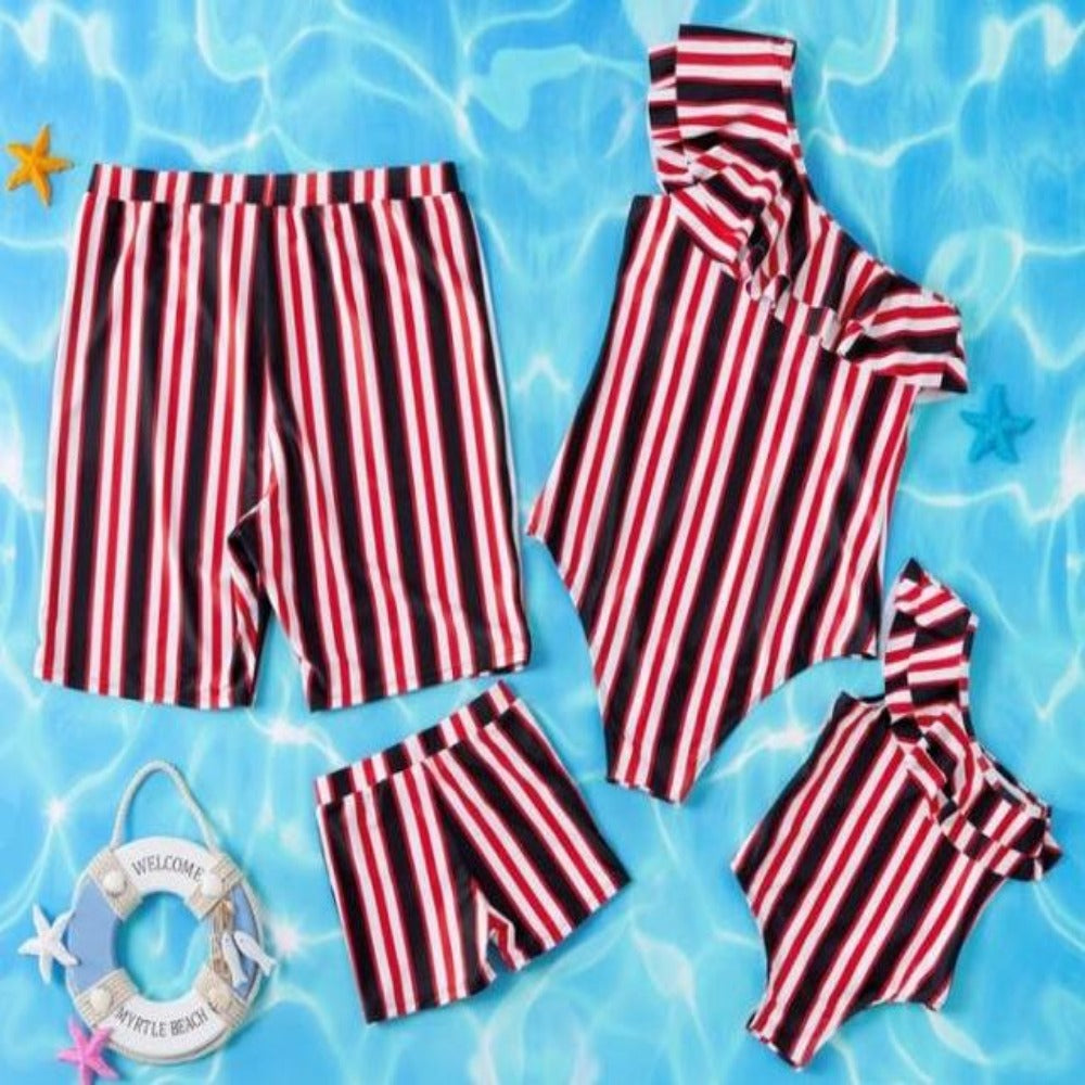 Mom, Daughter, Father And Son Matching Swimwear-Ladies Swimwear-Product Details: Mom, Daughter, Father and Son Matching Swimwear Outfits Material: Polyester Pattern Type: Print Item Type: Sets Sleeve Length (cm): Sleeveless Style: Casual Size Chart:-Keyomi-Sook
